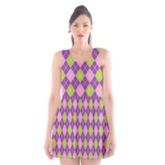 Plaid Triangle Line Wave Chevron Green Purple Grey Beauty Argyle Scoop Neck Skater Dress by Alisyart