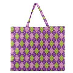 Plaid Triangle Line Wave Chevron Green Purple Grey Beauty Argyle Zipper Large Tote Bag by Alisyart