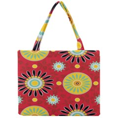 Sunflower Floral Red Yellow Black Circle Mini Tote Bag by Alisyart