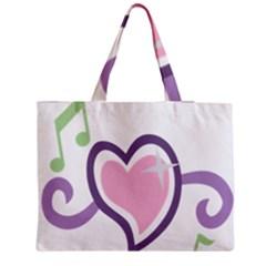 Sweetie Belle s Love Heart Star Music Note Green Pink Purple Medium Zipper Tote Bag by Alisyart