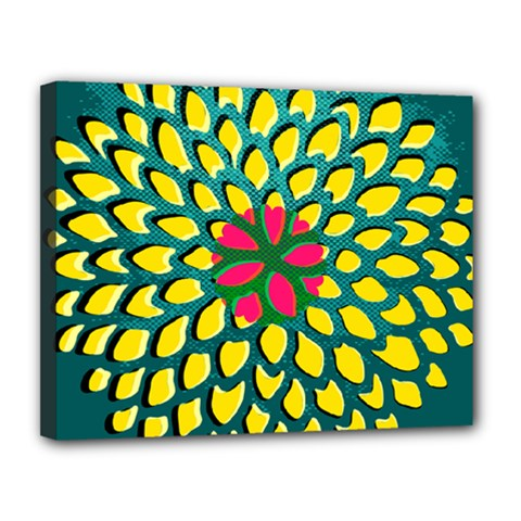Sunflower Flower Floral Pink Yellow Green Canvas 14  X 11  by Alisyart