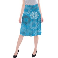 Flower Star Blue Sky Plaid White Froz Snow Midi Beach Skirt by Alisyart