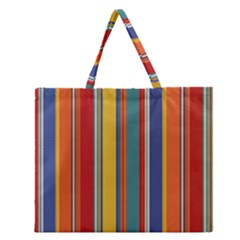 Stripes Background Colorful Zipper Large Tote Bag by Simbadda
