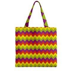 Colorful Zigzag Stripes Background Zipper Grocery Tote Bag by Simbadda