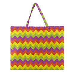 Colorful Zigzag Stripes Background Zipper Large Tote Bag by Simbadda