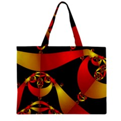 Fractal Ribbons Zipper Mini Tote Bag by Simbadda