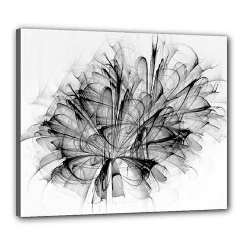 Fractal Black Flower Canvas 24  X 20  by Simbadda