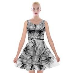 Fractal Black Flower Velvet Skater Dress by Simbadda