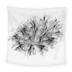 Fractal Black Flower Square Tapestry (large) by Simbadda