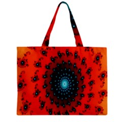 Red Fractal Spiral Zipper Mini Tote Bag by Simbadda