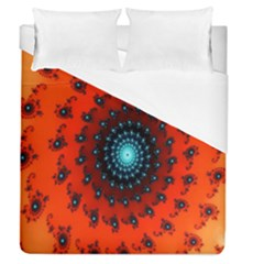 Red Fractal Spiral Duvet Cover (queen Size) by Simbadda