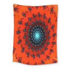 Red Fractal Spiral Medium Tapestry by Simbadda
