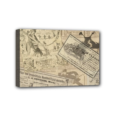 Vintage Newspaper  Mini Canvas 6  X 4  by Valentinaart