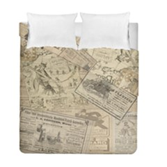 Vintage Newspaper  Duvet Cover Double Side (full/ Double Size) by Valentinaart