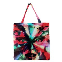 Abstract Girl Grocery Tote Bag by Valentinaart