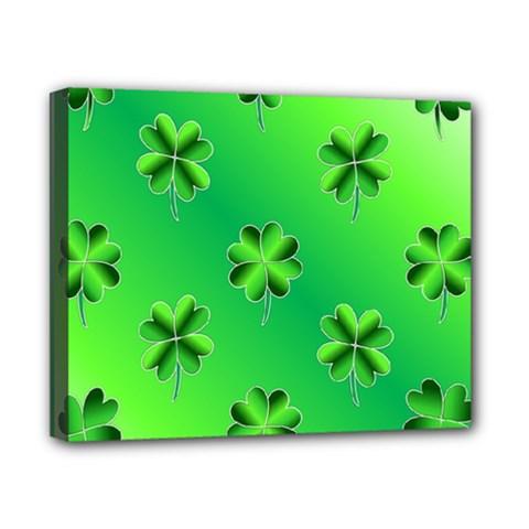 Shamrock Green Pattern Design Canvas 10  X 8  by Simbadda