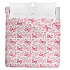 Cute Pink Flowers And Butterflies Pattern  Duvet Cover Double Side (queen Size) by TastefulDesigns