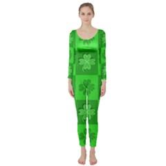 Fabric Shamrocks Clovers Long Sleeve Catsuit by Simbadda