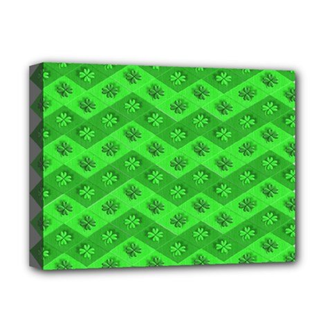 Shamrocks 3d Fabric 4 Leaf Clover Deluxe Canvas 16  X 12   by Simbadda