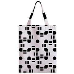 Black And White Pattern Zipper Classic Tote Bag by Simbadda