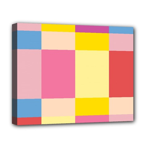 Colorful Squares Background Deluxe Canvas 20  X 16   by Simbadda