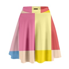 Colorful Squares Background High Waist Skirt by Simbadda