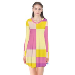 Colorful Squares Background Flare Dress