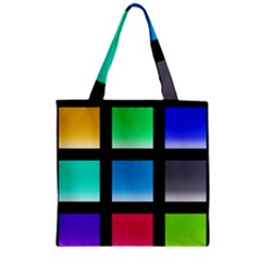 Colorful Background Squares Zipper Grocery Tote Bag by Simbadda