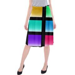 Colorful Background Squares Midi Beach Skirt by Simbadda