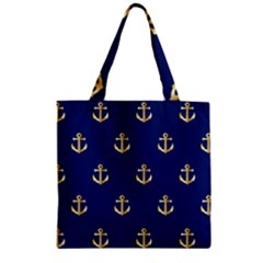 Gold Anchors On Blue Background Pattern Zipper Grocery Tote Bag by Simbadda