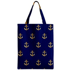 Gold Anchors On Blue Background Pattern Zipper Classic Tote Bag by Simbadda