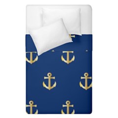 Gold Anchors On Blue Background Pattern Duvet Cover Double Side (single Size) by Simbadda