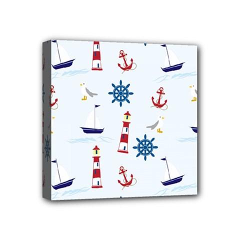 Seaside Nautical Themed Pattern Seamless Wallpaper Background Mini Canvas 4  X 4  by Simbadda