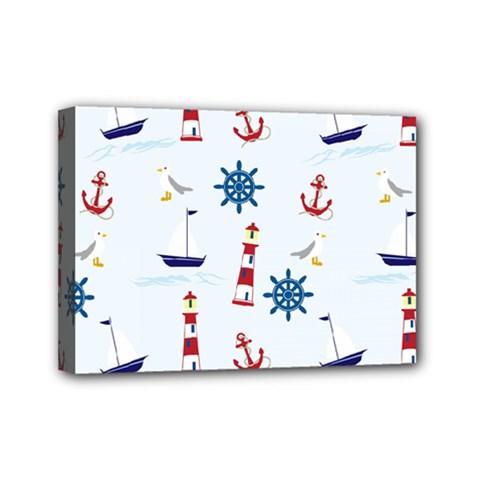 Seaside Nautical Themed Pattern Seamless Wallpaper Background Mini Canvas 7  X 5  by Simbadda