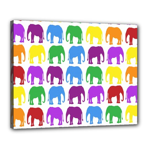 Rainbow Colors Bright Colorful Elephants Wallpaper Background Canvas 20  X 16  by Simbadda
