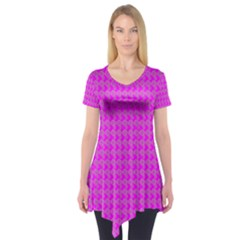 Clovers On Pink Short Sleeve Tunic  by PhotoNOLA