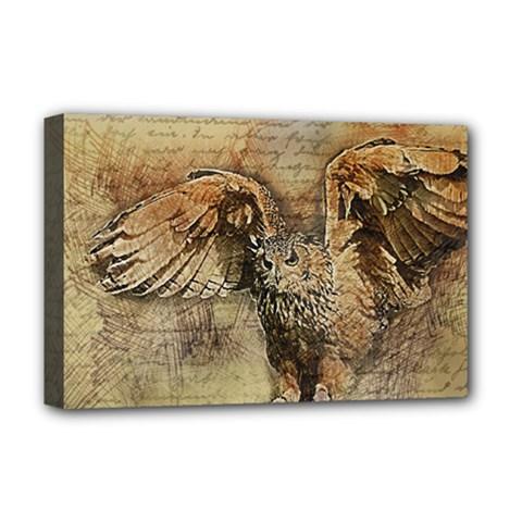 Vintage Owl Deluxe Canvas 18  X 12   by Valentinaart