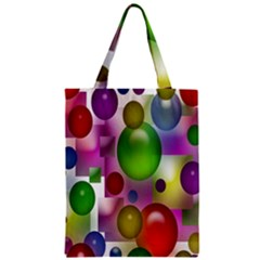 Colorful Bubbles Squares Background Zipper Classic Tote Bag by Simbadda
