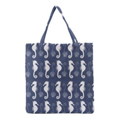 Seahorse And Shell Pattern Grocery Tote Bag by Simbadda