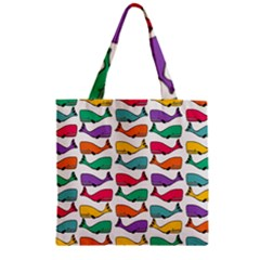 Small Rainbow Whales Zipper Grocery Tote Bag by Simbadda