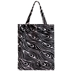 Digitally Created Peacock Feather Pattern In Black And White Classic Tote Bag by Simbadda