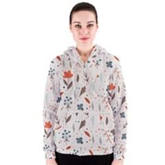 Seamless Floral Patterns  Women s Zipper Hoodie by TastefulDesigns