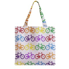 Rainbow Colors Bright Colorful Bicycles Wallpaper Background Grocery Tote Bag by Simbadda