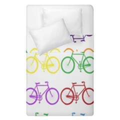 Rainbow Colors Bright Colorful Bicycles Wallpaper Background Duvet Cover Double Side (single Size) by Simbadda
