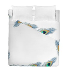 Beautiful Frame Made Up Of Blue Peacock Feathers Duvet Cover Double Side (full/ Double Size) by Simbadda