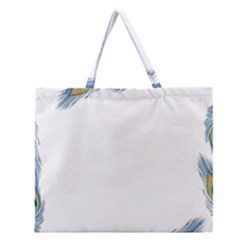 Beautiful Frame Made Up Of Blue Peacock Feathers Zipper Large Tote Bag by Simbadda