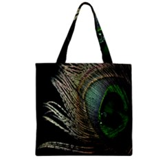 Feather Peacock Drops Green Zipper Grocery Tote Bag by Simbadda
