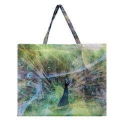 Digitally Painted Abstract Style Watercolour Painting Of A Peacock Zipper Large Tote Bag by Simbadda