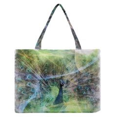 Digitally Painted Abstract Style Watercolour Painting Of A Peacock Medium Zipper Tote Bag by Simbadda
