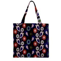Cute Birds Pattern Zipper Grocery Tote Bag by Simbadda